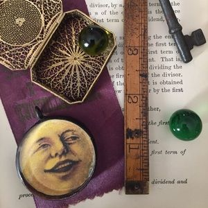 Jewelry - NEW Man in the Moon Victorian Glass Pendant gypsy
